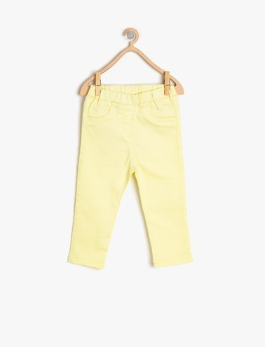 Koton Kids Cep Detaylı Pantolon Sarı